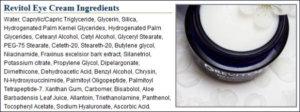Revitol Eye Cream Ingredients