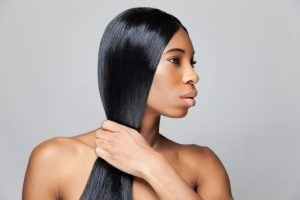 african american woman with silky straight hair