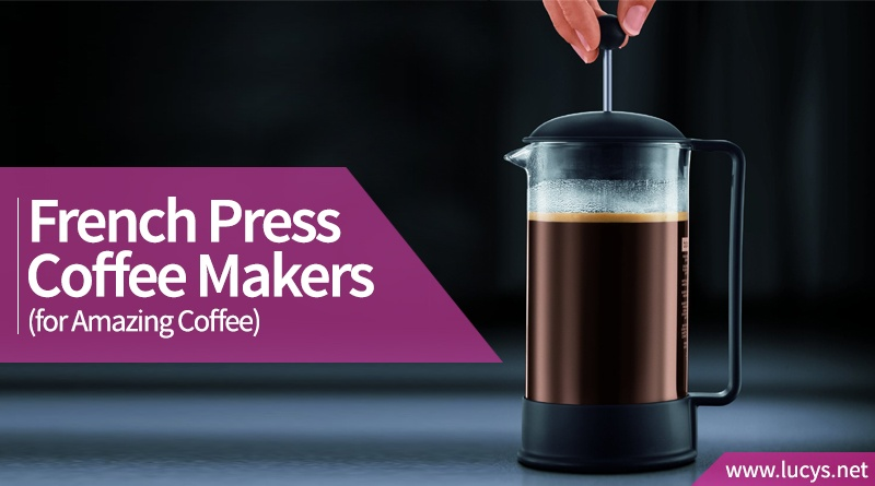 A French Press with coffee in it being plunged.