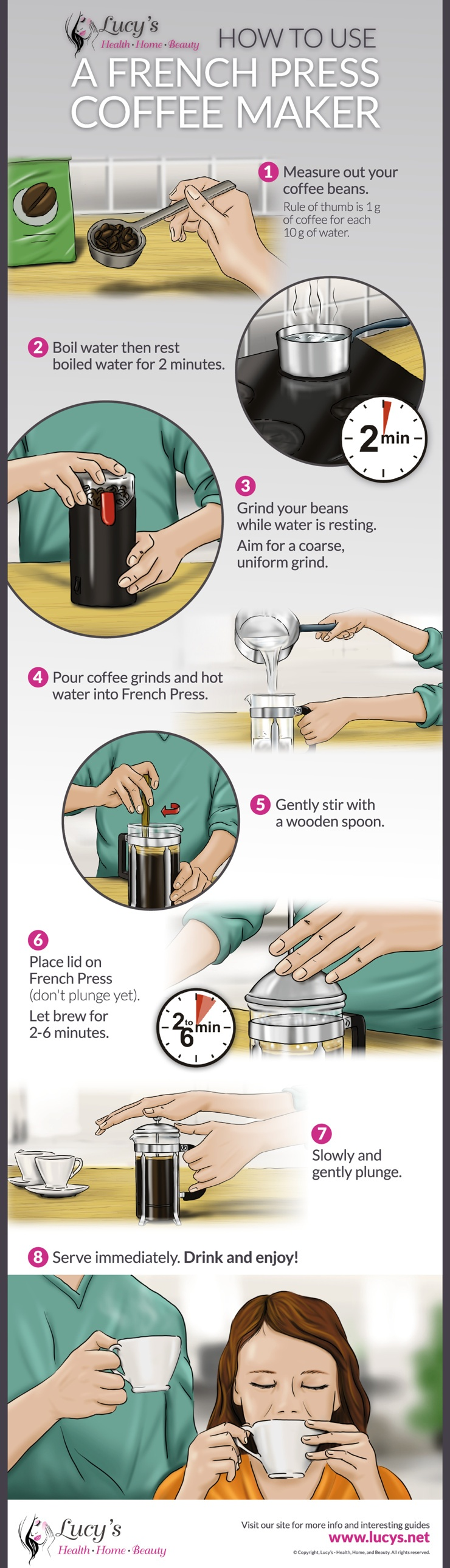 Infographic showing how to use a french press coffee maker