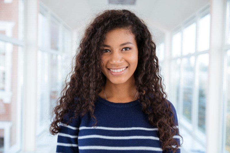 young female with healthy natural hair