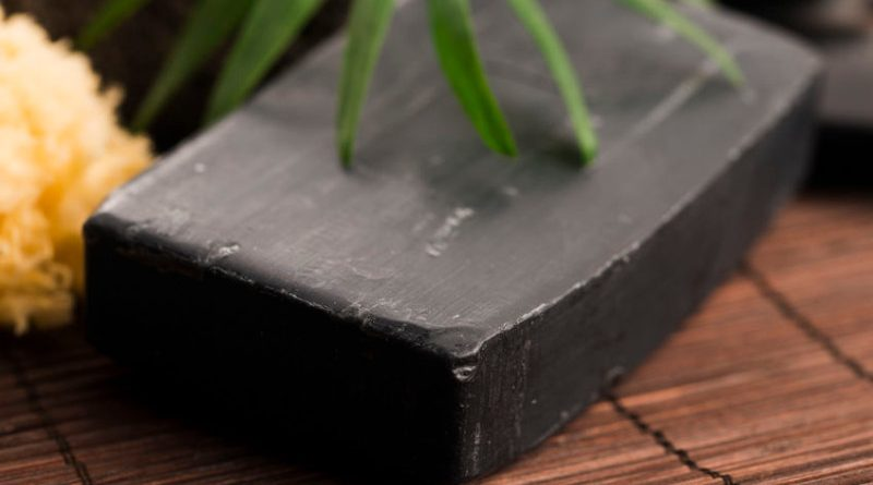 bar of black acne soap