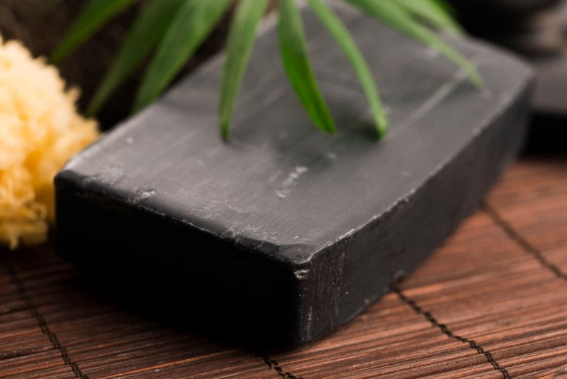 bar of black acne soap