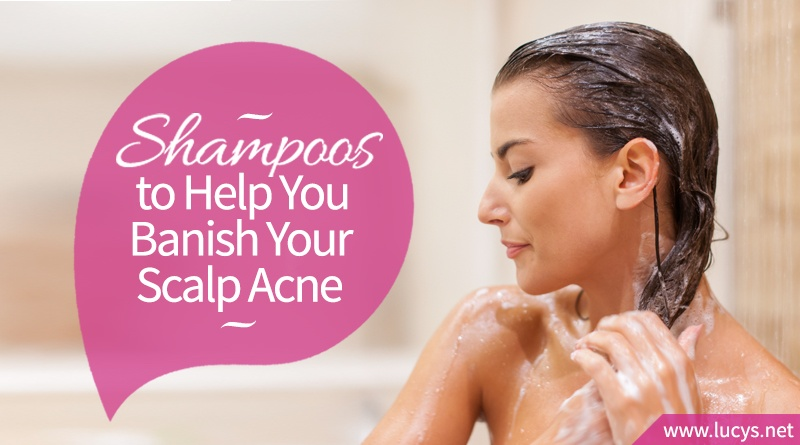 A woman shampooing with anti-acne product.
