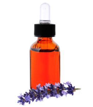 bottle of lavender essential oil