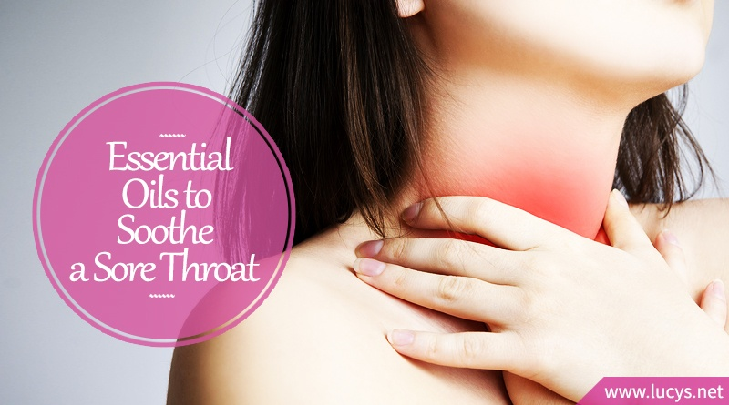 woman holding sore throat