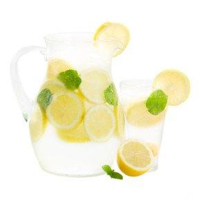 jar and glass of lemonade