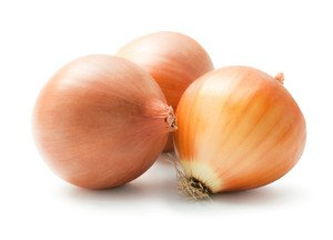 3 brown onions on a white background.