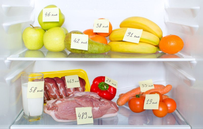 open-fridge-full-of-fruits-vegetables-and-meat-with-marked-calories